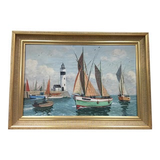 French 1930s Seascape Oil Painting