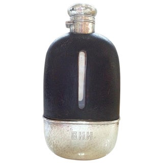 1920s Art Deco English Hip Flask in Sterling Silver, Gold Wash, Leather & Hand Blown Glass For Sale