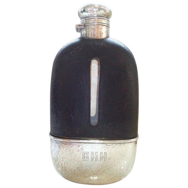 1920s English Art Deco Hip Flask in Sterling Silver, Gold Wash, Leather & Hand Blown Glass For Sale