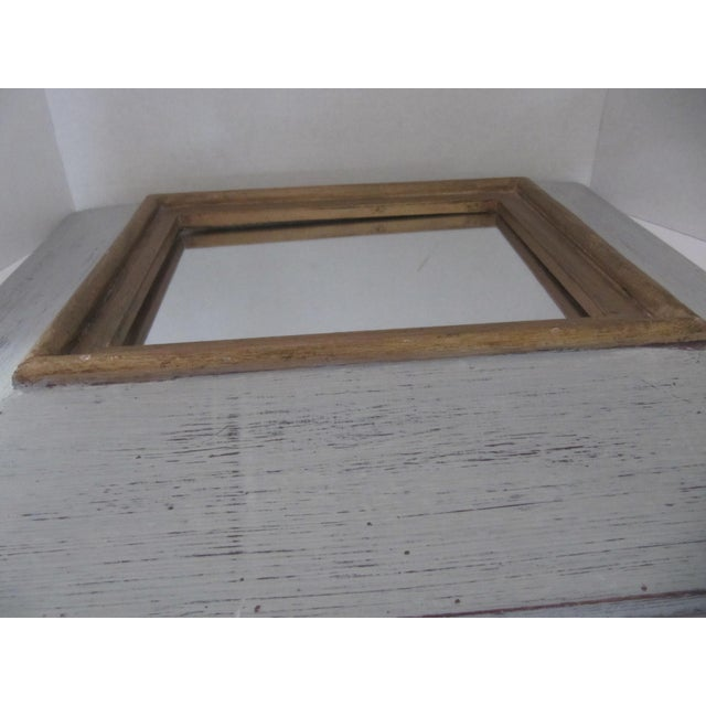 Wood Distressed Grey & Gold Wall Mirror For Sale - Image 7 of 7