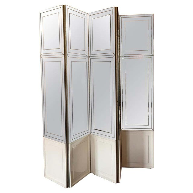 White Vintage Modern Mirrored Folding Screen Room Divider For Sale - Image 8 of 8