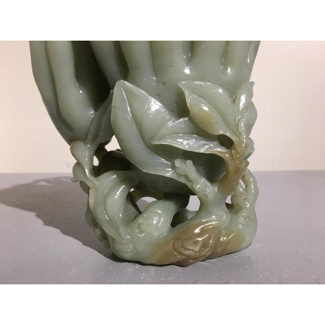 Large Chinese Carved Celadon Jade Double Buddha Hand Vase For Sale - Image 10 of 11