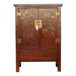 Chinoserie Red & Gilt Asian Armoire For Sale
