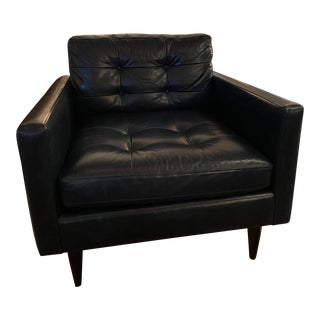 Crate & Barrel Navy Leather Chair For Sale