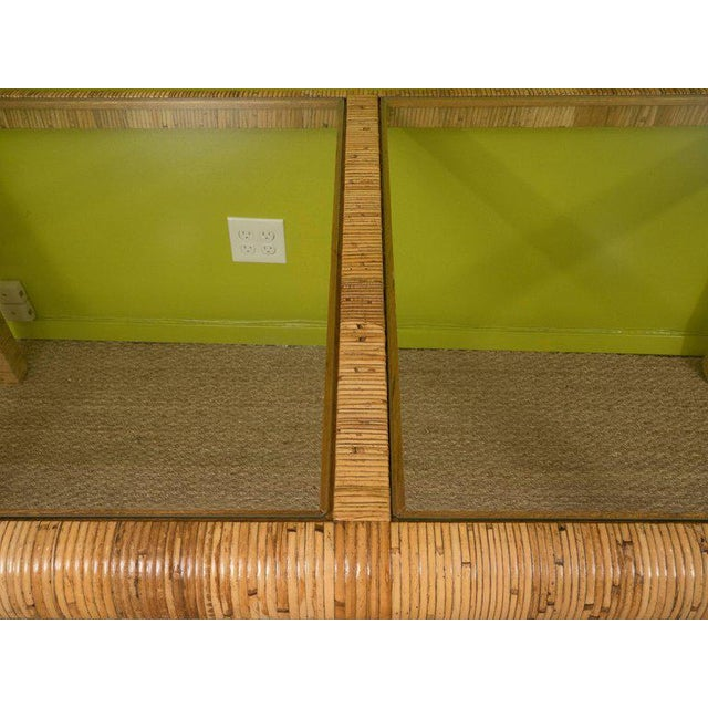 Rattan & Glass Console Table For Sale - Image 5 of 9