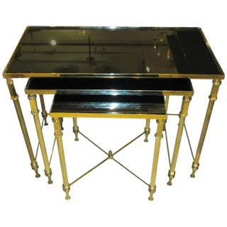 1950s French Brass Nesting Tables With Smoked Glass Tops For Sale