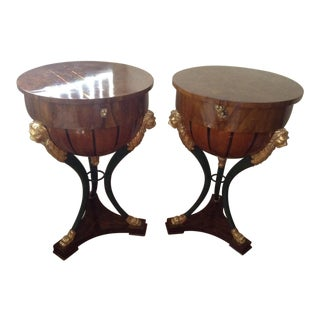 Late 19th Century Vintage Empire Half Globe Side Tables- A Pair For Sale