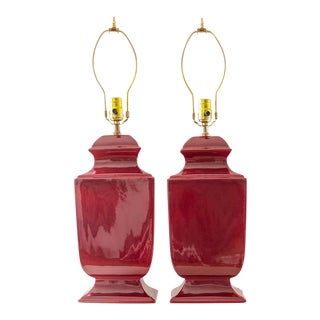 Ruby Red Table Lamps   Vintage Ceramic Pair of Two For Sale