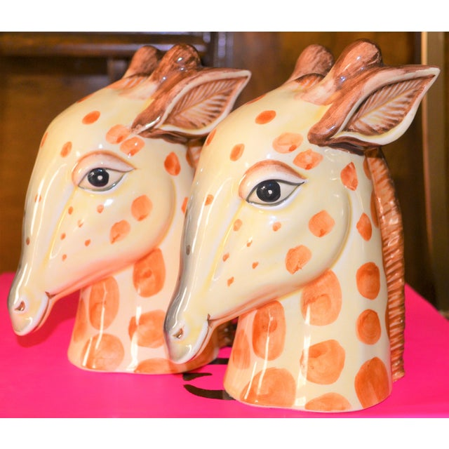 Fitz and Floyd Vintage Fitz & Floyd Porcelain Giraffe Bookends - A Pair For Sale - Image 4 of 11