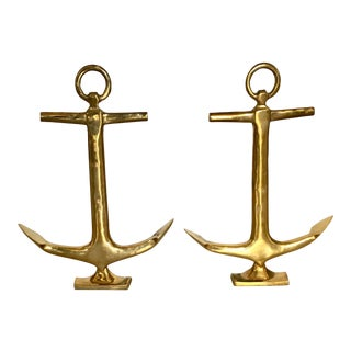 Pair of Vintage Brass Anchor Andirons For Sale
