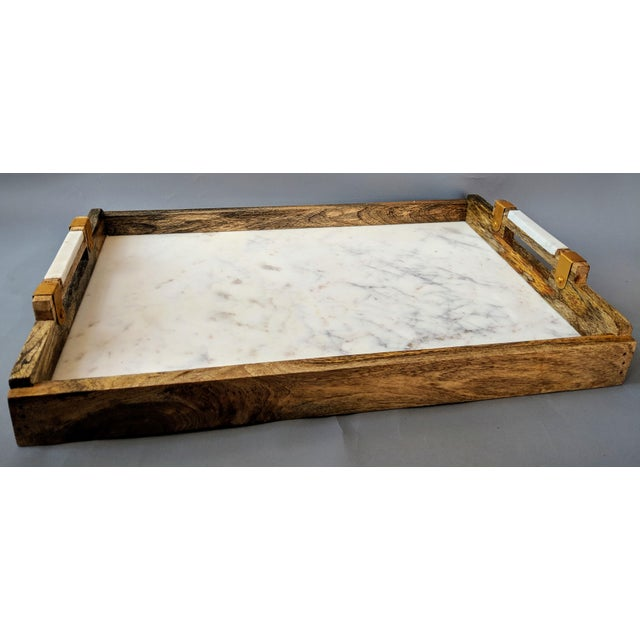 Handcrafted Wood & Marble Bar Tray For Sale In Providence - Image 6 of 12