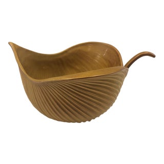 Jonathan Adler Mustard Yellow Leaf Bowl For Sale
