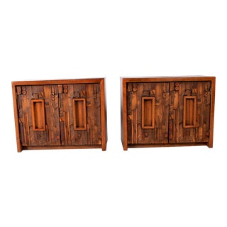 1970s Brutalist Lane Furniture Pueblo Nightstands - a Pair For Sale