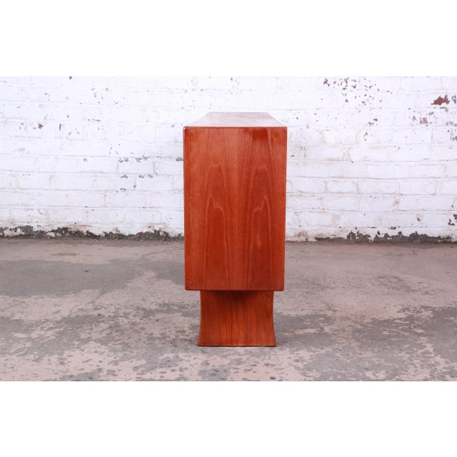 Danish Modern Teak Glass Front Credenza or Bookcase For Sale - Image 10 of 12