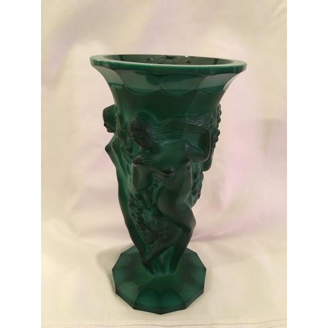 Art Deco Inspired Green Glass Vase - Image 4 of 6