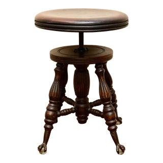 1920s Antique Victorian Claw/Glass Ball Piano Stool For Sale