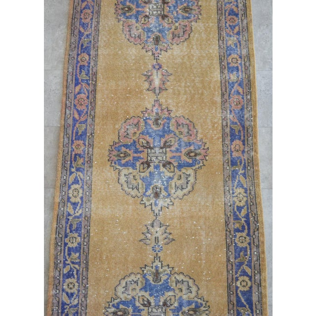 Traditional Design Distressed Oushak Runner Rug Faded Colors Low Pile - 2'12″ X 10'10″ For Sale In New York - Image 6 of 10