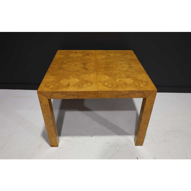 1970s Milo Baughman Olivewood Burl Parsons Dining Table For Sale - Image 5 of 13