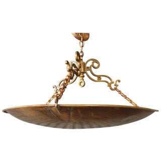 Antique Brass Saucer Pendant Light For Sale