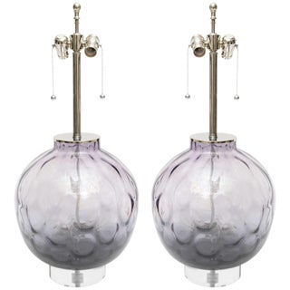 Large Scale Pair of Chrome, Lucite and Purple-Violet Colored Murano Glass Lamps For Sale