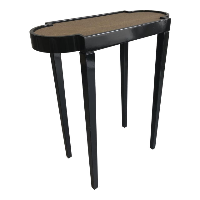 Tricorn Black & Brown Shagreen Oomph Tini Table For Sale
