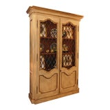 Image of Custom French Style Grate Front Lighted Display Cabinet For Sale