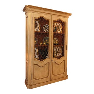 Custom French Style Grate Front Lighted Display Cabinet For Sale