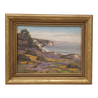 Early 20th C. California Coastal With Wildflowers Oil Painting C.1920 For Sale
