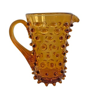 Vintage Mid-Century American Amber Hobnail Glass Pitcher For Sale