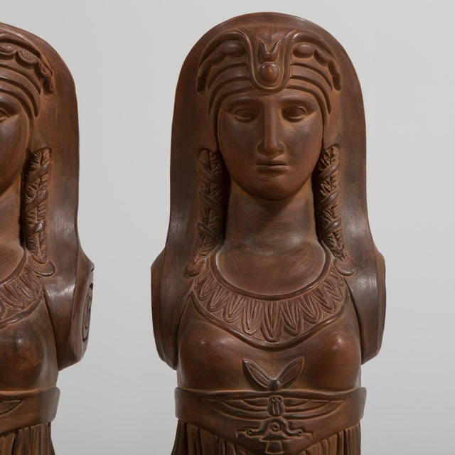 A Pair of Terracotta Term Figures circa 1980 For Sale - Image 6 of 8