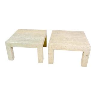 Vintage Travertine Parsons Tables - A Pair