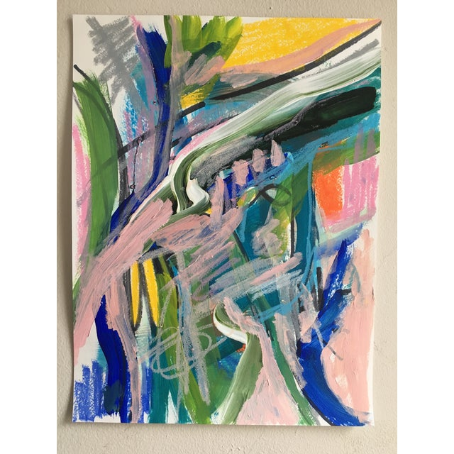 No. 319 Original Abstract Painting on Paper For Sale - Image 4 of 4