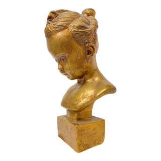 Vintage Early 20th Century Gold Leaf Ceramic Bust of a Girl For Sale