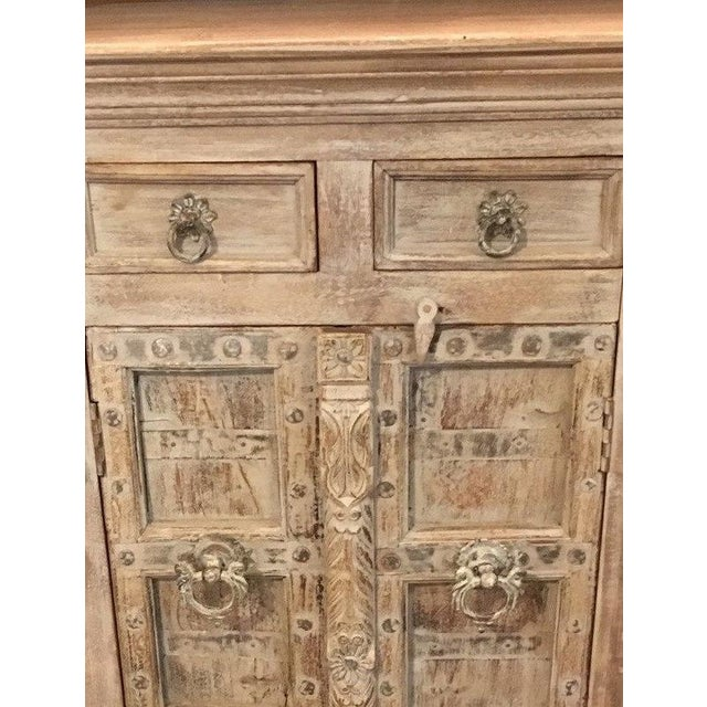 Small Whitewashed Cabinet with Vintage Indian Teak Doors. Made in India. 28w X 17d X 44h.