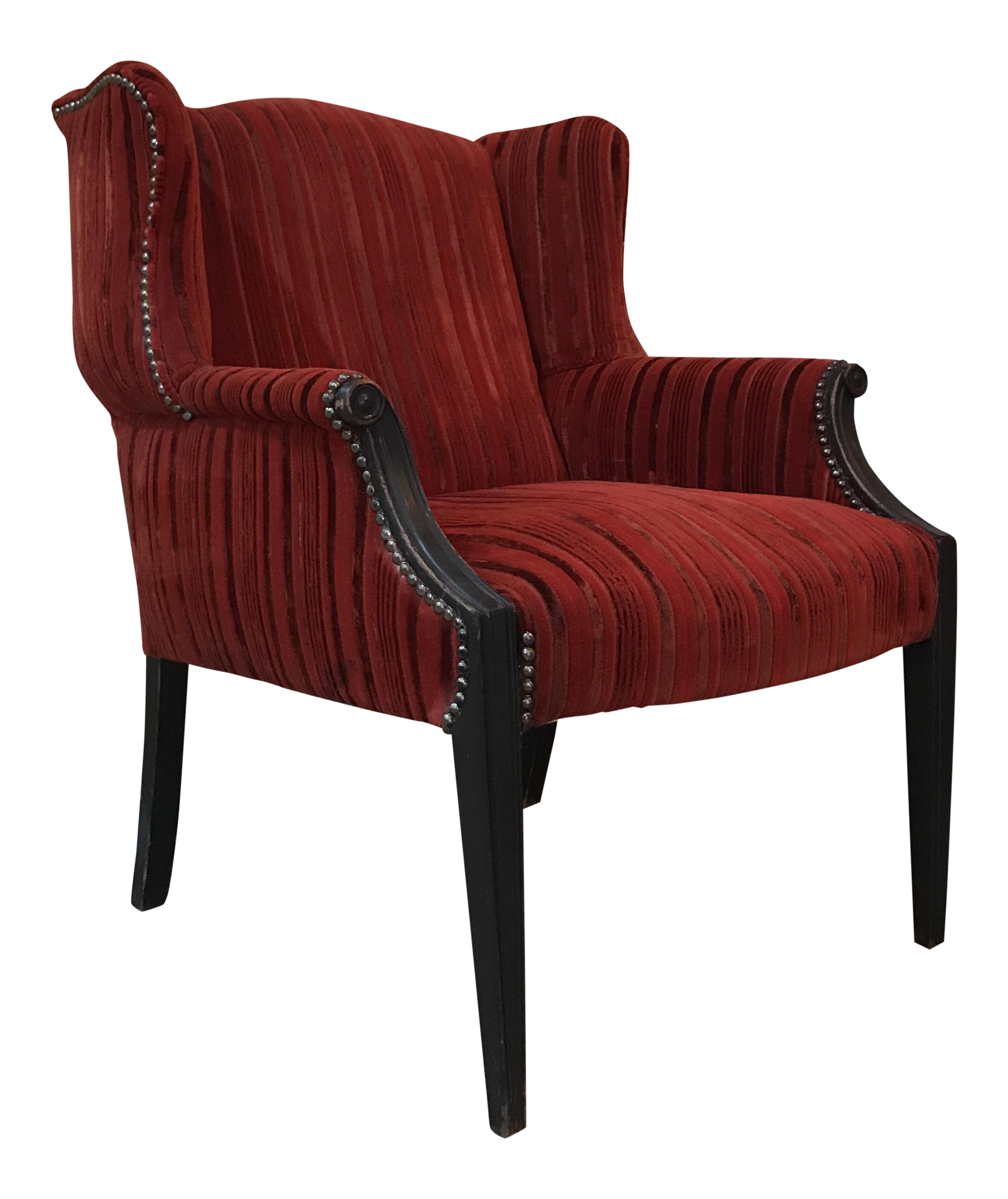 Antique Red Wingback Side Chair