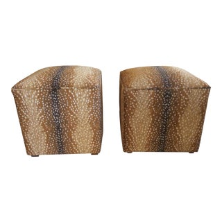 Modern Lee Antelope Chenille Fabric Square Ottomans- a Pair For Sale
