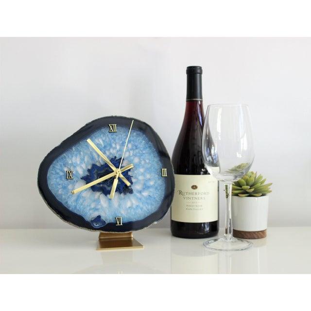 Modern Blue Agate Slice Boho Clock - Image 3 of 7