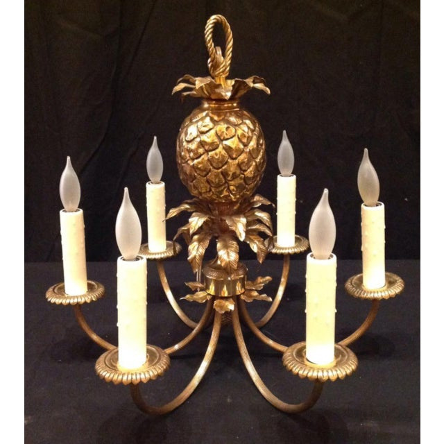 1960s 1960's Maison Charles Brass Pineapple Chandelier For Sale - Image 5 of 8