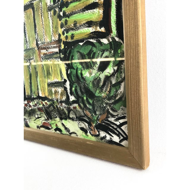 """Abstract 1996 Small English Abstract """"Green House"""" Framed Painting For Sale - Image 3 of 11"""
