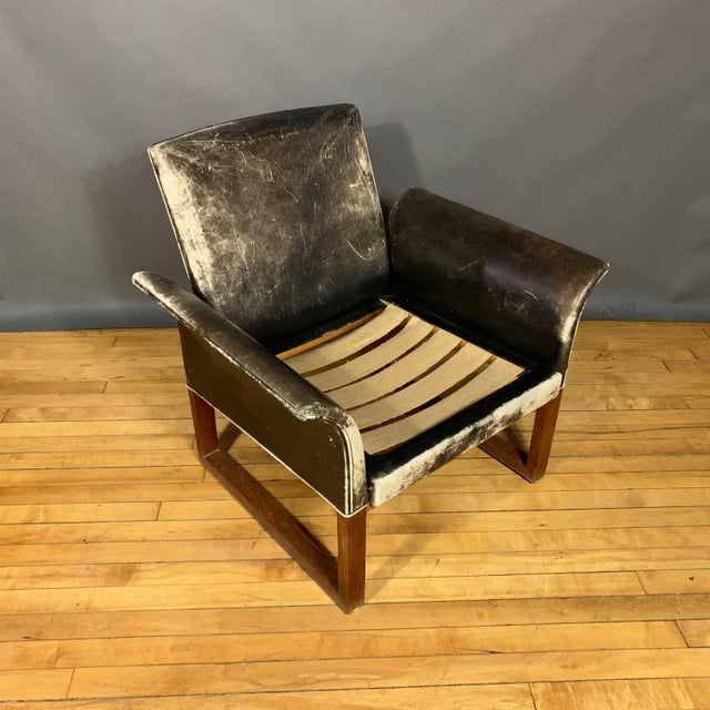 Pair of Danish 1960s Faded Black Leather Lounge Chairs For Sale - Image 12 of 13