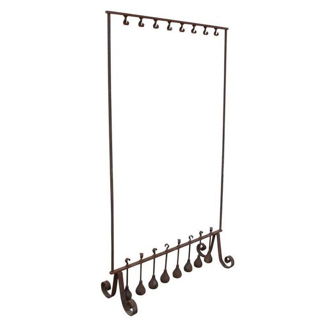 Traditional Antique Wrought Iron Free Standing Coat Rack For Sale Image