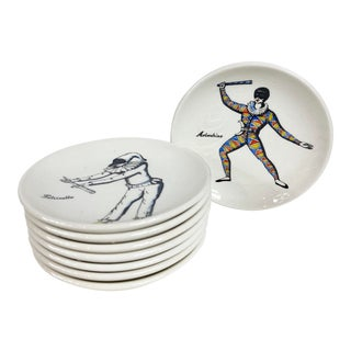 """Maschere Italiane"" Circus Porcelain Coasters by Piero Fornasetti - Set of 8 For Sale"