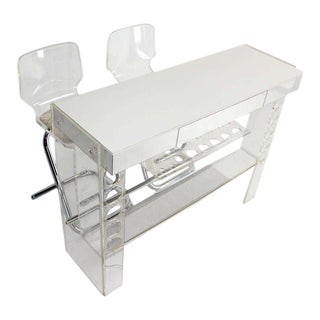 Mid Century Modern Chrome and Lucite Bar with Two Bar Stools For Sale