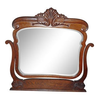 19th Century Victorian Carved Oak Swinging Beveled Dresser Mirror For Sale
