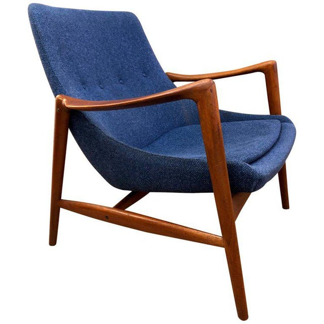 Blue Danish Mid-Century Modern Lounge Chair For Sale - Image 8 of 8