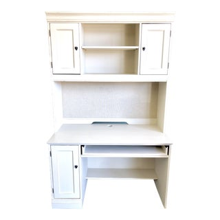 1990s Cottage Hooker Furniture White Computer Desk With Hutch For Sale