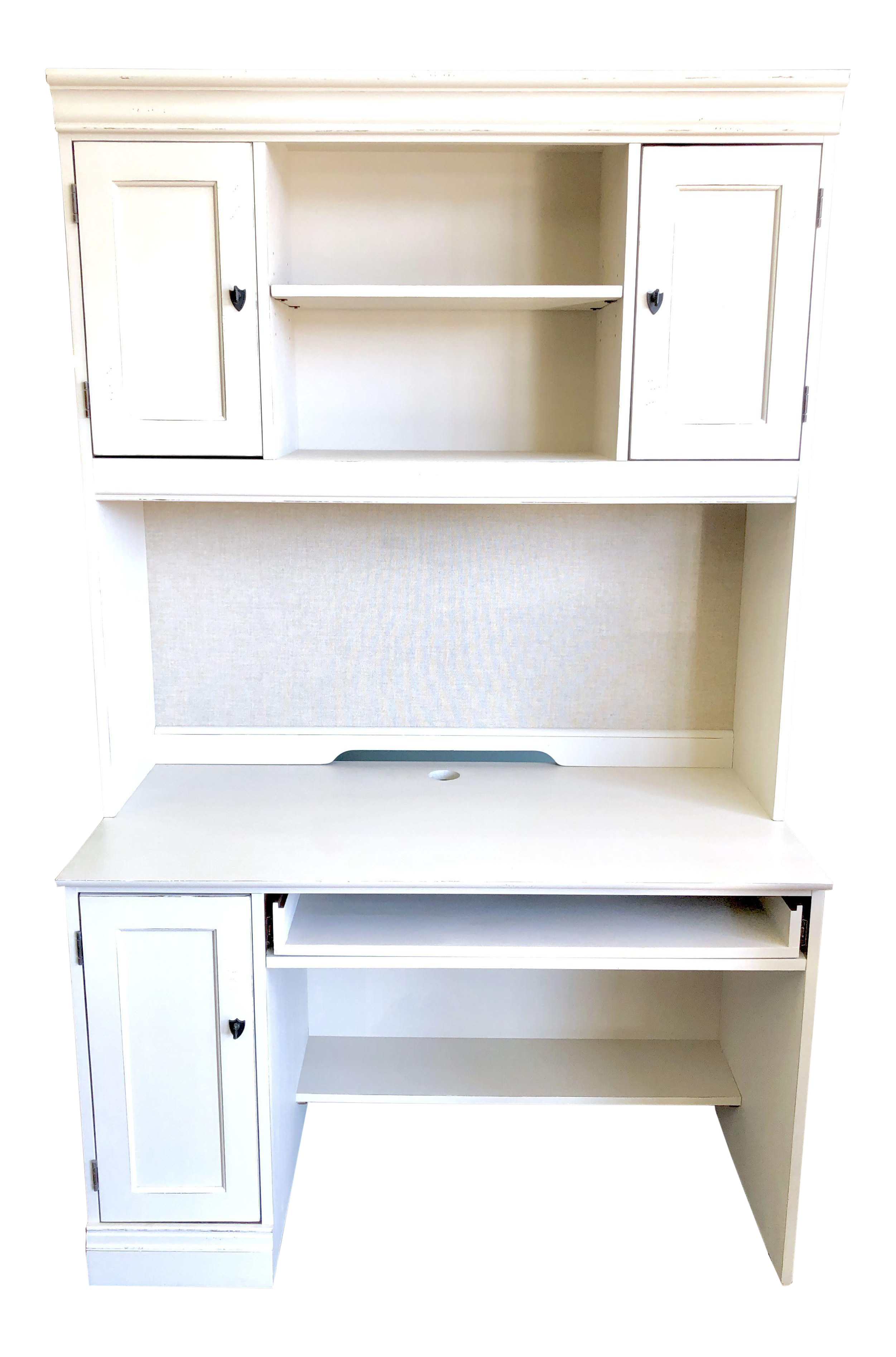 Etonnant 1990s Cottage Hooker Furniture White Computer Desk With Hutch For Sale