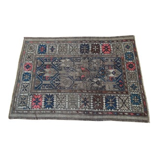 """19th Century Distressed Hand-Woven Caucasian Rug - 3' 6"""" X 4' 6"""" For Sale"""