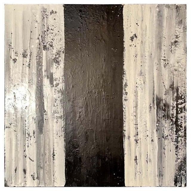 "Lynn Basa Encaustic Black and White Stripe Panel ""Three Ways of Looking Black"" For Sale - Image 13 of 13"