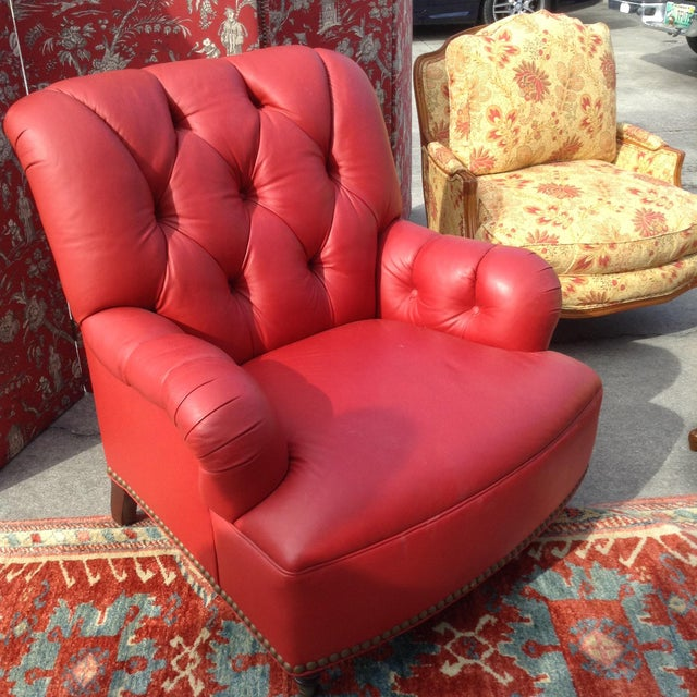 Traditional 21st Century Traditional Red Leather Chair For Sale - Image 3 of 5